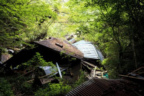 崩壊した家屋